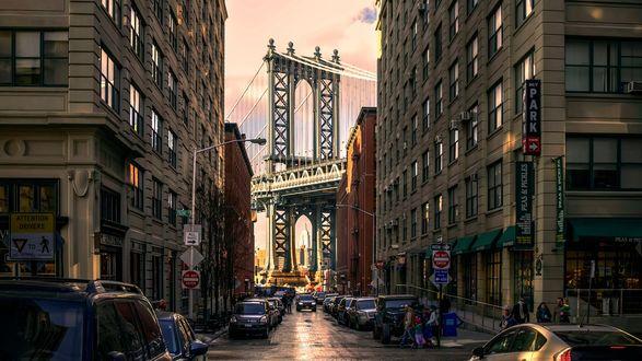 Обои Одна из улиц в районе Бруклина / Brooklyn, Нью-Йорк / New York, США / USA