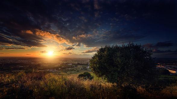 Обои Закат над Palmela. Portugal / Палмелой, в Португалии, фотограф Joao Cruz dos Santos