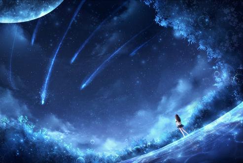 Обои Девушка в школьной форме смотрит на планету и падающие звезды в ночном небе, by CZY