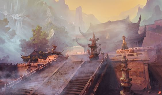 Обои Широкая лестница с каменными драконами ведущая к древнему китайскому храму в туманной горной долине