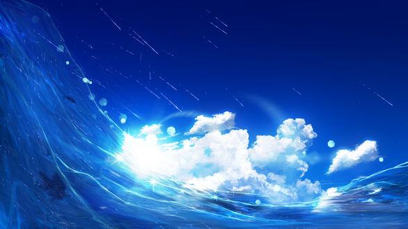 Обои Волна и брызги от нее на фоне облачного неба, by Y_Y