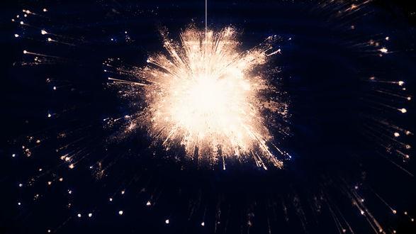 Обои Отражение ночного неба с фейерверком в воде, by Y_Y