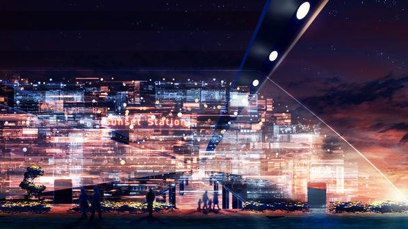Обои Силуэты людей, прохаживающихся на набережной во время заката, видны сквозь схемы, by Y_Y (Sunset Station)