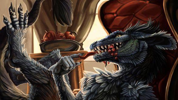 Обои Монстр сидит на своем троне и ест яблоки