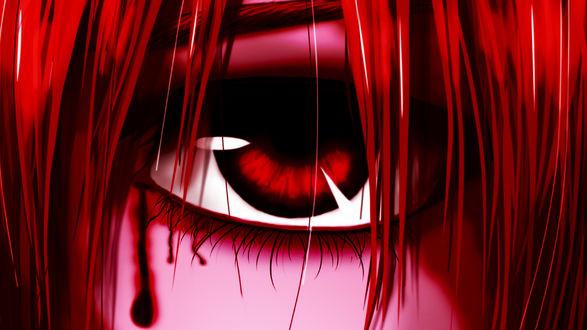 Обои Плачущая кровью Люси / Lucy / Каэдэ / Kaede / Ню / Nyu из аниме и манги Эльфийская песнь / Elfen Lied