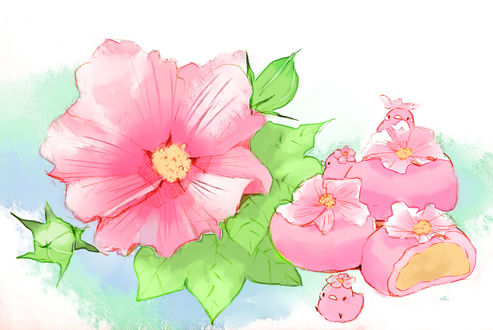 Обои Сладкие булочки, украшенные цветами мальвы и розовые птички, by drawingchisanne