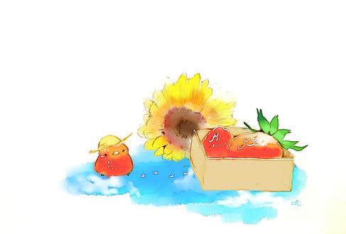 Обои Цветок подсолнуха, птичка в шляпе и коробочка с клубникой, by drawingchisanne