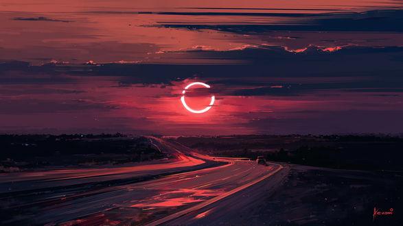 Обои Автомобиль на трассе под облачным небом во время затмения, by Aenami