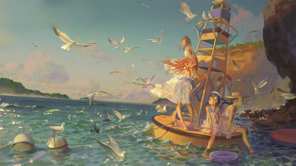 Обои Девочки на лодке в окружении чаек