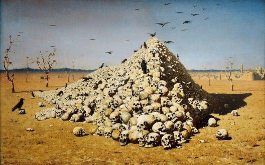Обои Картина Верещагина Апофеоз войны. Груда черепов и вороны на фоне голубого неба и желтой земли
