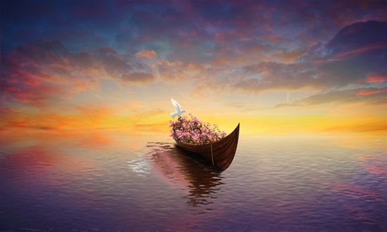 Обои Лодка памяти с цветами и белой голубкой, скользящая по воде на закате