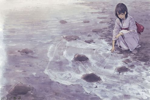 Обои Девочка в японской одежде сидит на берегу замершей реки