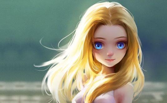 Обои Голубоглазая блондинка на сером фоне, art by Lu Yao
