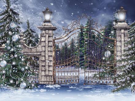 Обои Кованные ворота в зимнем лесу среди наряженных шарами новогодних елок и фонарей