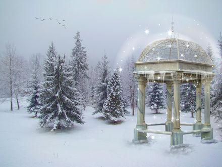 Обои Беседка зимой в снегу среди елок светится огнями, by PatriciaRodelaArtist