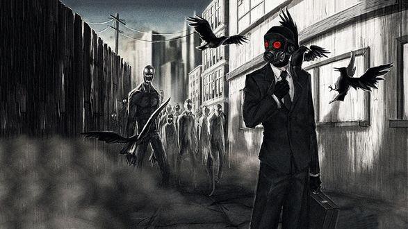 Обои Бизнесмен в противогазе в городе среди зомби, ворон и ядовитого газа
