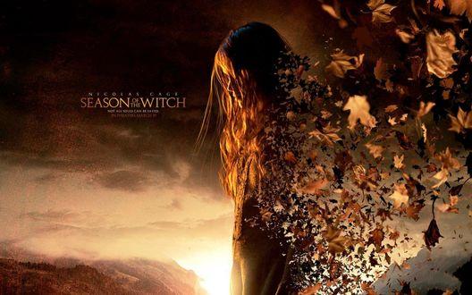 Обои Девушка распадается осенними листьями на фоне неба, (Season witch / Сезонная ведьма, время ведьм)