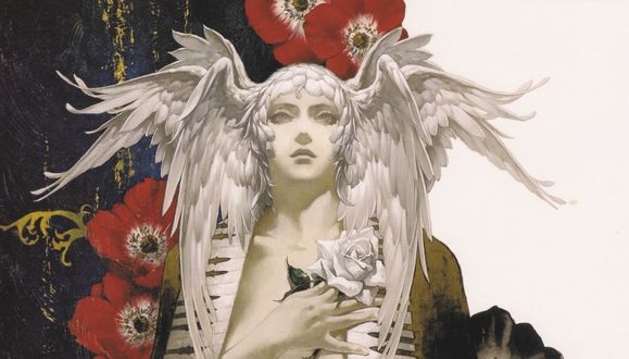 Обои Игра Castlevania. Ангел с розой на фоне маков