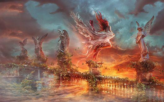 Обои Девушка летит мимо мраморных ангелов на ограде на фоне огненной лавы и неба в дыму