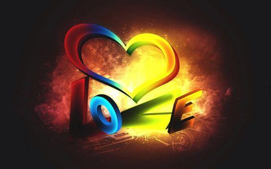 Обои Стилизованная надпись (Love / Любовь) на темном фоне