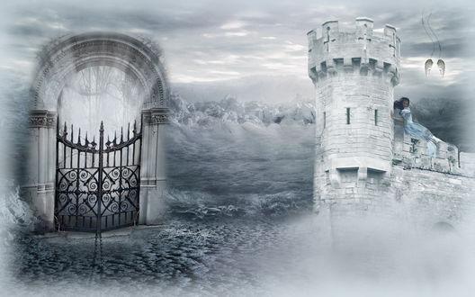 Обои Ворота и башня крепости, на которой сидит девушка, потерявшая крылья, в тумане