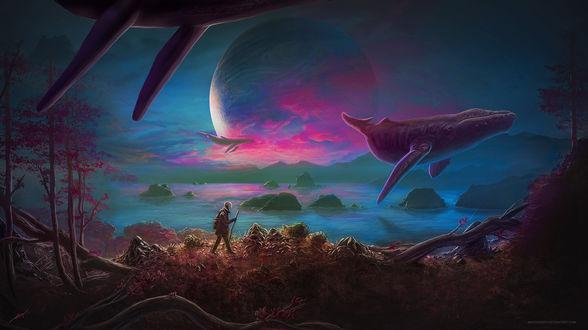 Обои Идущий человек по лиственной земле на фоне неба с полной луной и летающими касатками над водой, by Matkraken