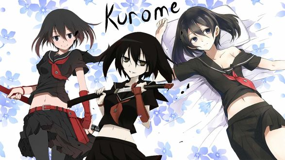 Обои Куромэ / kurome из аниме убийца акамэ / akame ga kill на фоне цветов лежит на кровати с подушкой, злая держит в руках катану, думает о плохом