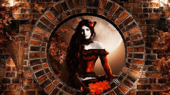 Обои Девушка с красными листьями в круглом кирпичном окне осенью