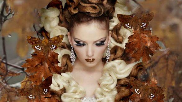 Обои Девушка в осенних листьях и бабочках