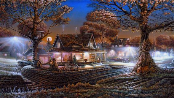 Обои Дом освященный огнями среди деревьев вечером осень в Хеллоуин