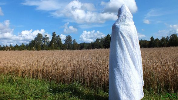 Обои Фигура в белом саване смотрит на поле пшеницы. Символ жатвы