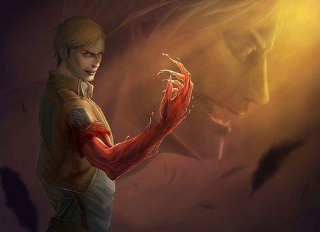 Обои Командир разведкорпуса Erwin Smith / Эрвин Смит превращается в титана из аниме Вторжение гигантов / shingeki no Kyojin, художник Hajime Isayama