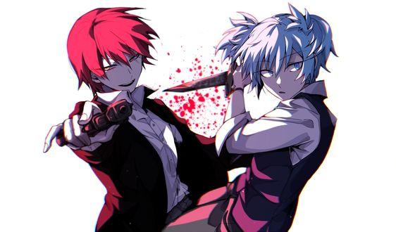 Обои Персонажи нагиса шиота / nagisa shiota и карма акабанэ / karma akabane из аниме класс убийц / anatsu kyoushitsu держат в руках нож и пистолет на белом фоне в брызгах крови