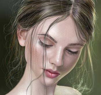Обои Девушка с опущенными глазами, by MemorYsto