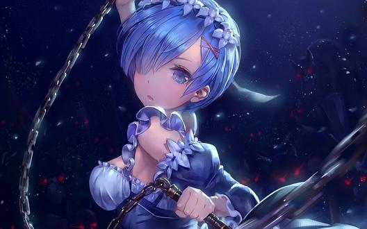 Обои Rem / Рэм из аниме Re: Жизнь в альтернативном мире с нуля / Re: Zero kara Hajimeru Isekai Seikatsu, атакует нечисть моргенштерном