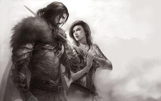 Обои Воин мужчина и девушка с мечом идут в тумане