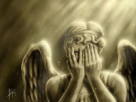 Обои Ангел закрыл лицо руками и смотрит одним белым глазом