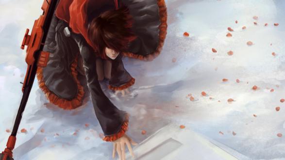 Обои Плачущая Руби Роуз / Ruby Rose из аниме Красный, Белый, Черный, Желтый / Red White Black Yellow / RWBY на снегу в окружении алых лепестков роз, by Zeon1309
