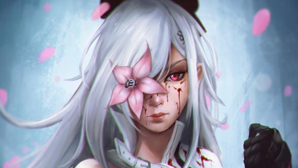 Обои Зеро / Zero из игры Drag-On Dragoon / Drakengard 3Вс белыми волосами, цветком в глазу и в крови