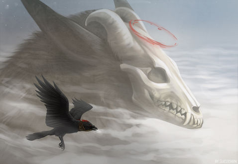 Обои Череп животного с нимбом и летящий ворон, by Shesterrni