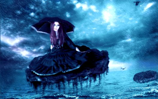 Обои Девушка под зонтиком на куске земли над морем