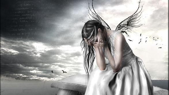 Обои Девушка ангел плачет на лавочке под небом с облаками