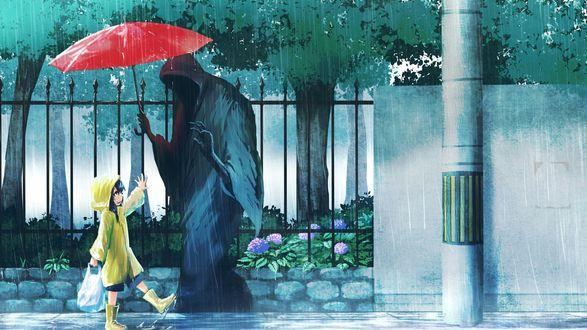 Обои Смерть держит красный зонтик над девочкой на тротуаре в городе