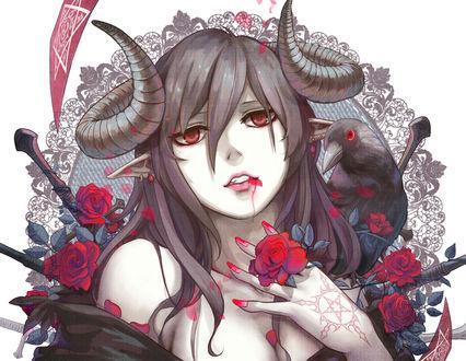 Обои Рогатая демонесса с кровью на губах, с красными розами и черным вороном на плече