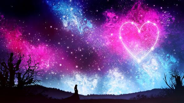 Обои Силуэт девушки на фоне ночного неба, на котором звезды образуют сердечко, by kvacm