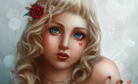 Обои Девушка с красной розой в волосах и сердечком на щеке