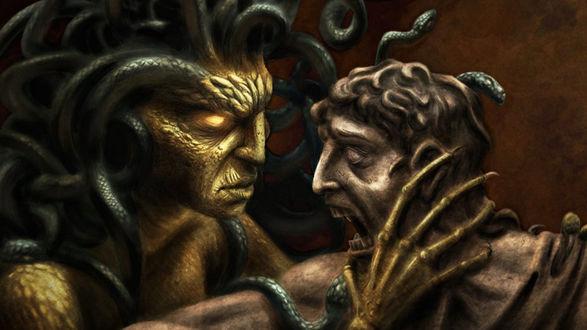 Обои Монстры с щупальцами на голове выясняют отношения