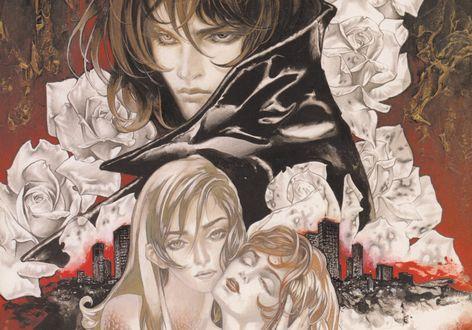 Обои Влюбленная пара и парень в черной кожанке среди белых роз на фоне города