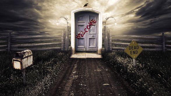 Обои Дверь с надписью Welcome и почтовый ящик в чистом поле. Знак Dead end