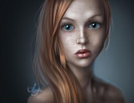 Обои Рыжеволосая и голубоглазая девушка с веснушками, by MemorYsto